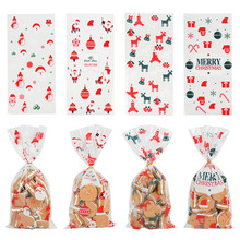 Tree Pouch Candy-Bag Plastic Bags Christmas-Cookie-Packaging Cartoon 50pcs for Xmas-Decor
