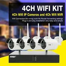 Anspo sem fio 4ch 1080 p nvr ao ar livre indoor wifi hd câmera cctv sistema de segurança kit