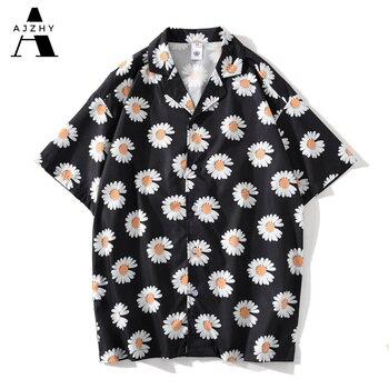 Daisy Flower Print Hip Hop Shirts Short Sleeve Summer Beach Streetwear Hawaiian Shirts Men Casual Harajuku Aloha Shirt For Men 3