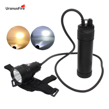XHP70.2 LED Diving Flashlight Waterproof Underwater Video 100M Powerful Canister Split Type XHP70 Scuba Dive Torch Lamp Light