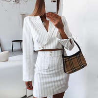 Women Office Skirt Suit Elegant Skirt and Jacket Casual Work Outfit White Stripe Female Autumn Business Suit Two Pieces OL Sets