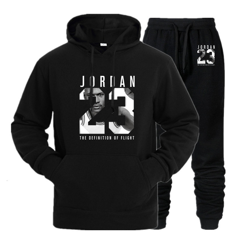 New 2020 Brand Tracksuit Fashion JORDAN 23 Men Sportswear Two Piece Sets All Cotton Fleece Thick Hoodie+Pants Sporting Suit Male