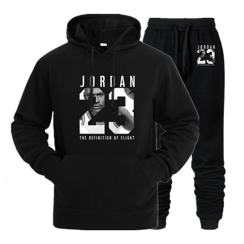 New 2020 Brand Tracksuit Fashion JORDAN 23 Men Sportswear Two Piece Sets All Cotton Fleece Thick Hoodie+Pants Sporting Suit Male