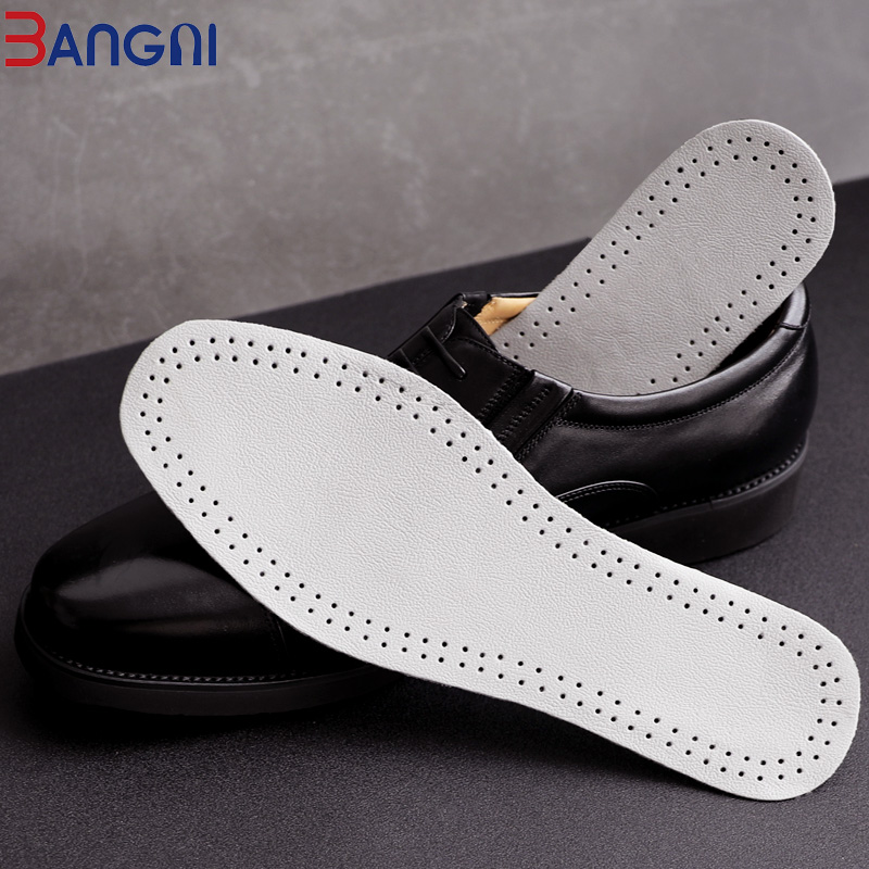 3ANGNI Cowhide Leather Insoles Thin Soft Breathable Business Men Authentic Leather Massage Shoe Pads Inserts Soles