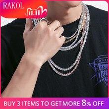 RAKOL collana con catena da Tennis in zirconi cubici di lusso Hiphop gioielli di alta qualità con chiusura a scatola CZ per donna uomo 3mm 4mm 5mm rotondo