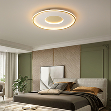 Master bedroom lamp simple modern round led living room lamp ultra-thin creative study Nordic light luxury room ceiling lamp nordic simple kitchen loft led ceiling light living study dinning room modern creative wood bedroom aisle lustre lamp garland
