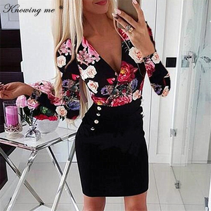 Women <font><b>Sexy</b></font> <font><b>Deep</b></font> <font><b>V</b></font> Neck Bodycon <font><b>Dress</b></font> Autumn winter Flower Print Button <font><b>Dresses</b></font> Slim Pockets Party Mini <font><b>Dress</b></font> image