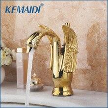 Kemaidi torneira do banheiro torneiras bacia luxo ouro misturadores deck montado singel lidar com pia & torneiras