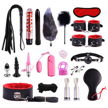 Couple Sexy leather 20-piece set of alternative binding bondage plush suit tail jump egg after the court anal plug adult toys