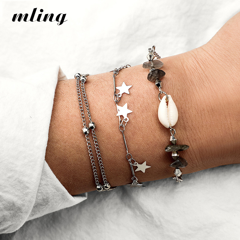 Compass Beads Charm Multilayer Rope Chain Silver Hollow Mountain Bracelet Set