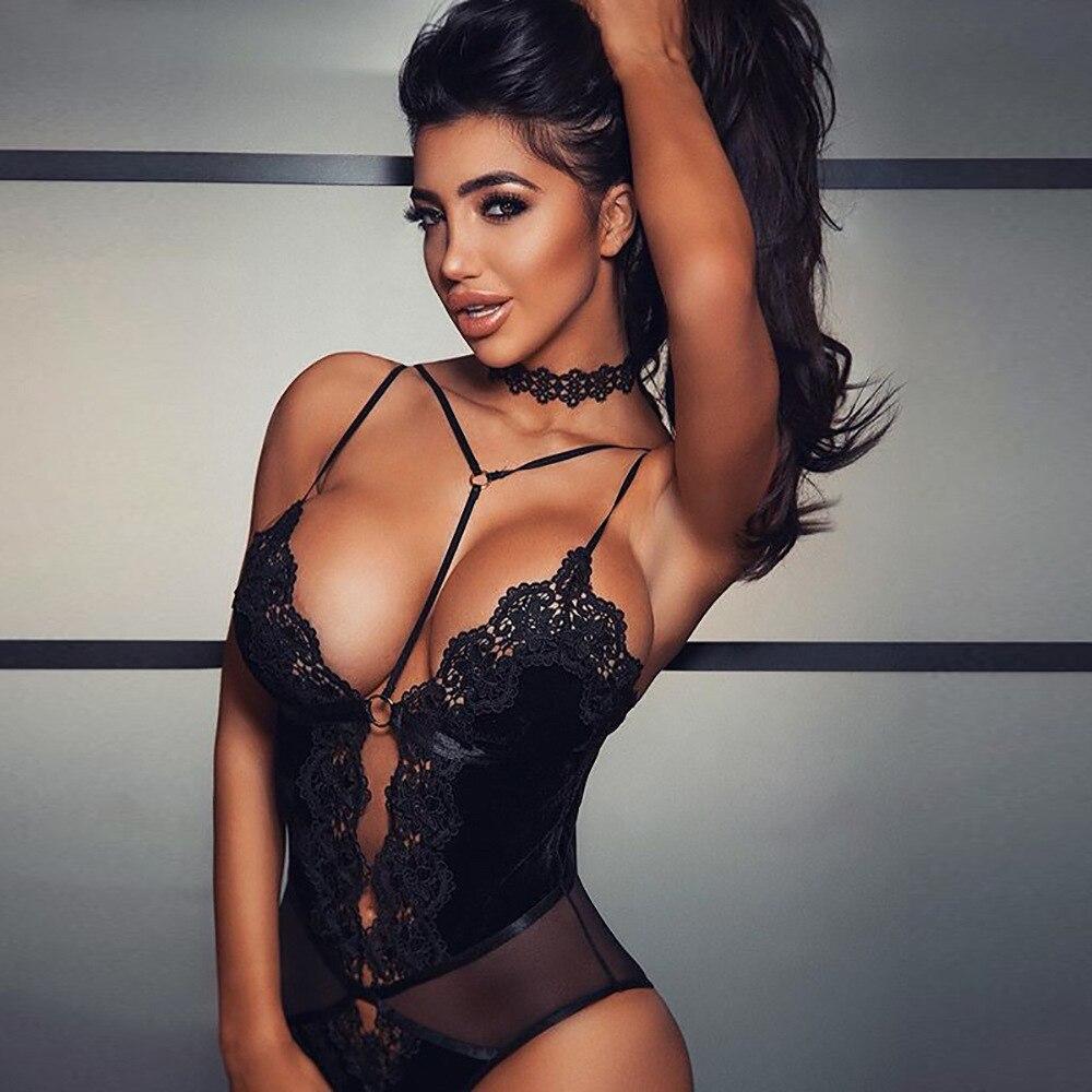 Body Sexy en dentelle pour femme, dos nu, décolleté plongeant en V