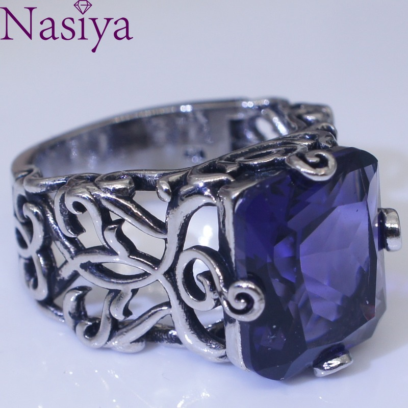 Hollow Flower Sapphire Color Gemstone Ring Retro Thai Silver Vintage Engagement 925 Silver Ring Jewelry