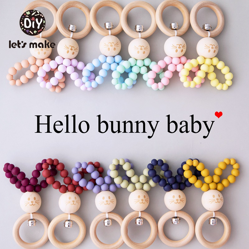 Let's Make Baby Toys Rattles For Newborns Music 1PC 0-12 Months Maple Bunny Ear Rabbit Cat Wooden Ring Silicone Beads Bed Bell