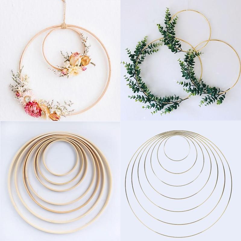 5pcs 15-40cm DIY Hanging Wreath Bamboo/Metal Wreath iron Ring Hoop Hanging Craft Party Decorations Baby Shower Wedding Wreaths