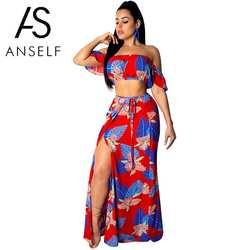 Сексуальный женский укороченный топ с разрезом, юбка, комплект с цветами и листьями, принт, вырез лодочкой, высокая талия, макси, бохо