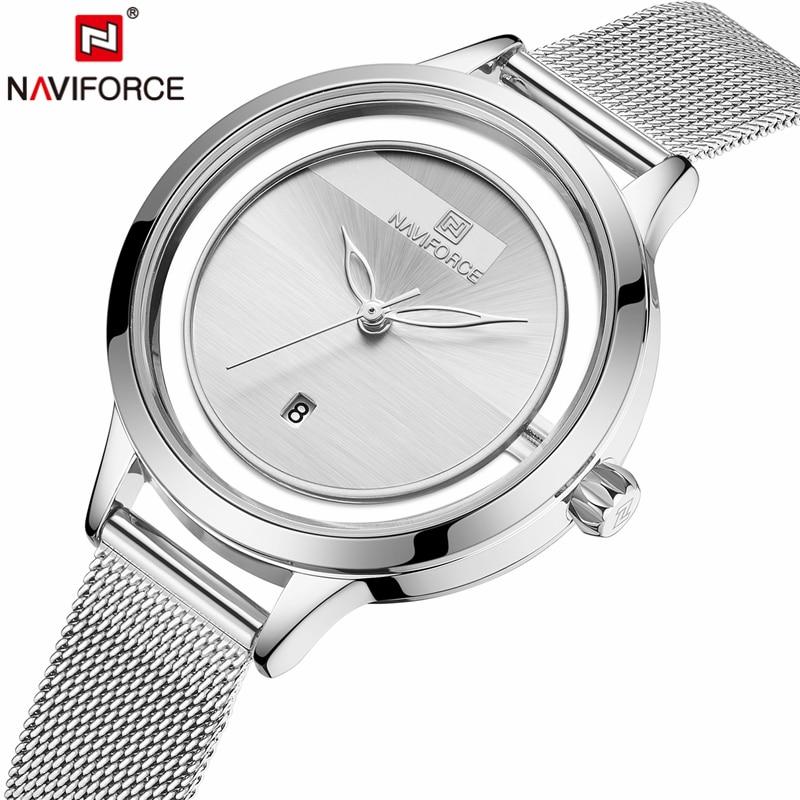 NAVIFORCE nouvelles femmes montres mode luxe Design dames Quartz décontracté bracelet en acier étanche horloge montre bracelet Relogio Feminino|Montres femme|   - AliExpress
