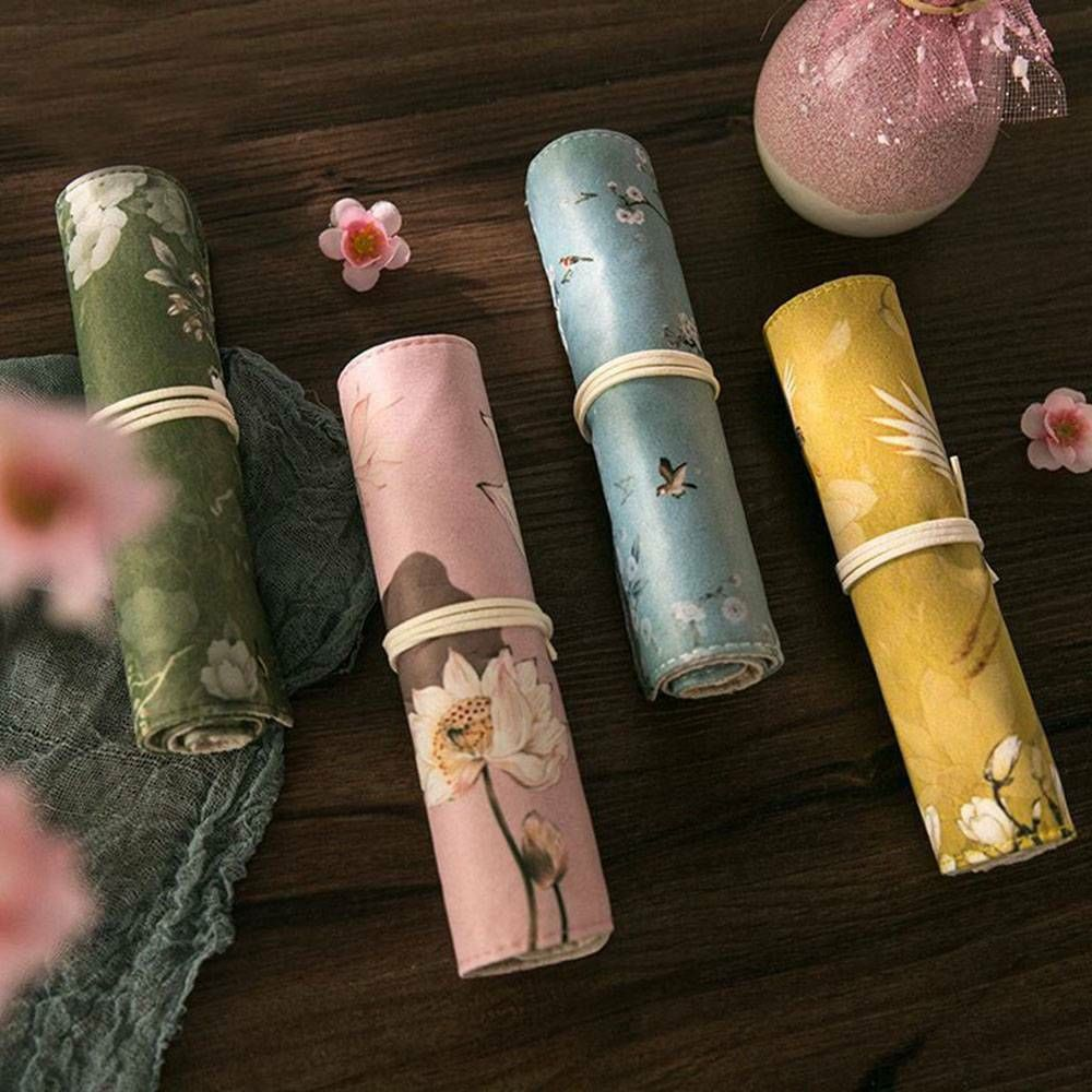 Chinese Flower Pencil Case Canvas Roll Pen Bag Penal For Girls Boys Cute Large Pencilcase School Supplies