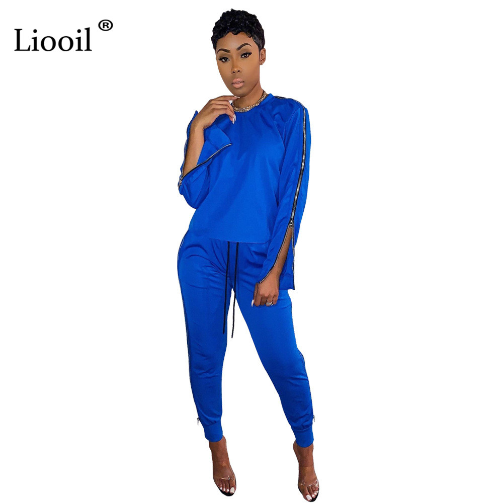 Liooil Two Piece Set Sweat Suits Women Club Outfits 2020 Zip Up Long Sleeve O Neck Tops And Sweatpants With Pockets Jogger Set