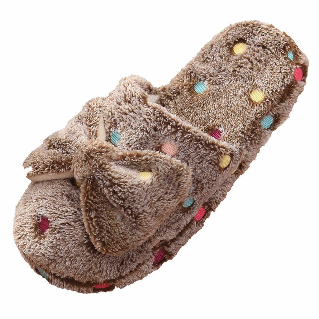 Sepatu Wanita Busur Kapas Sandal Slip Pada Indoor Sandal Wanita Wanita Lucu Musim Dingin Hangat Indoor Non-Slip Sepatu Rumah zapatos De Mujer