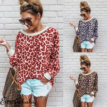 Women Ladies Leopard Print Loose Long Sleeve O-Neck Sexy Tops Blouses Female Fashion Shirts Top Clothing