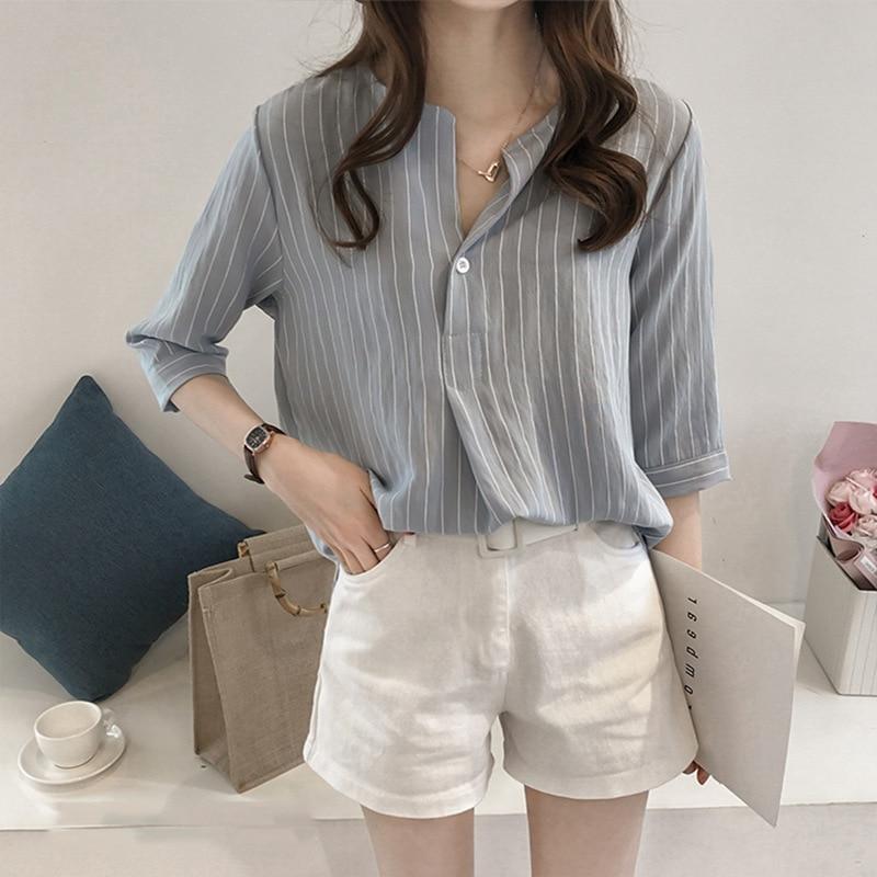 Casual Korean Women Stripe Chiffon Blouse Summer 2019 Loose White Shirt Fashion Plus Size Women Streetwear Elegant Ladies Tops