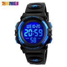 Skmei relógio digital led para crianças, relógio led digital multifuncional esportivo para crianças, relógio de pulso à prova dágua para meninos e meninas, 2020