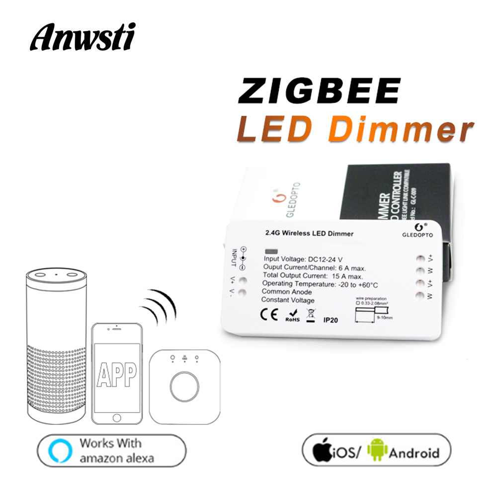 GLEDOPTO Zigbee Dimmer 12V 24V Single Color LED Strip Light Zigbee Bridge Smart Home APP Control LED Dimmer Work With Echo Plus