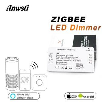цены GLEDOPTO Zigbee Dimmer 12V 24V Single Color LED Strip Light Zigbee Bridge Smart Home APP Control LED Dimmer Work with Echo Plus