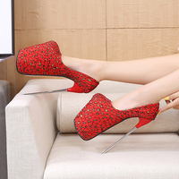 Fetish High heels Shoes 22cm Lace and Satin 12cm Platform Shoes Women's Pumps Metal Stiletto Heel Wedding Nightclub Lady Shoes