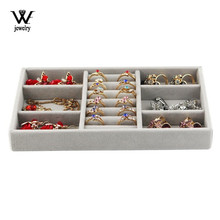 WE Gray Velvet Jewelry Ring Display Organizer Case Tray Holder Necklace Earrings Rings Storage Box Showcase Jewelry Stand Holder