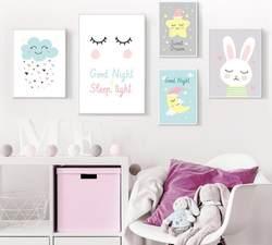 INS Northern европейский стиль современный минималистичный мультфильм кролик облако детская декоративная живопись для комнаты спальня
