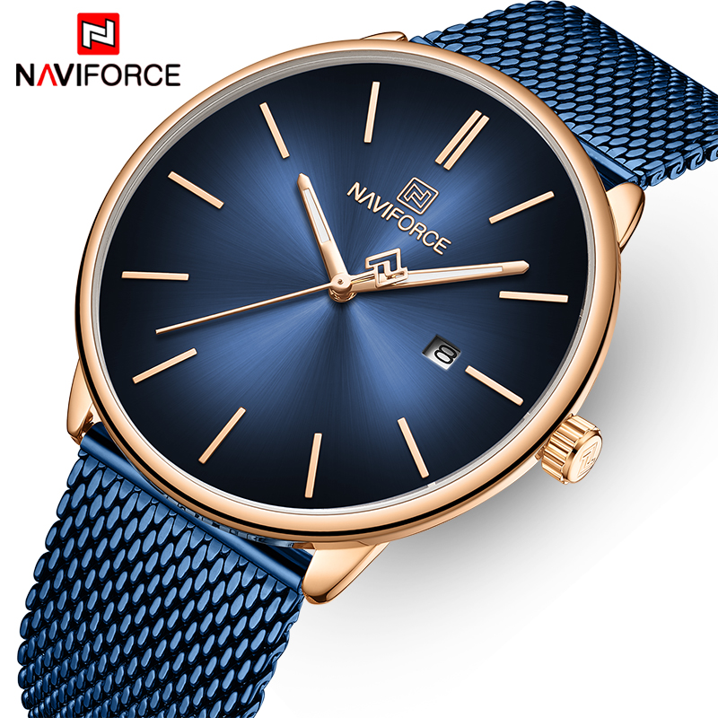 NAVIFORCE Top Luxury Brand Watches Men Quartz Watch Stainless Steel Waterproof Business Clock Wristwatch Date Relogio Masculino