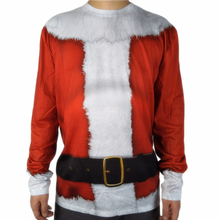 купить Cute Santa Claus Costume for Adult Men Vintage Long Sleeve 3D All Print Christmas T Shirt Crew Neck Xmas Tee Plus Size дешево