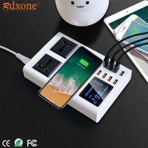 Image 1 - 8 USB bağlantı noktaları hızlı şarj soketi, led ekran ile cep telefonu duvar usb priz için iphone 6 7 8 7 artı X xiaomi