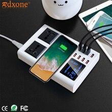 Với 8 Cổng USB Sạc Nhanh Ổ Cắm có Màn Hình LED Hiển Thị Điện Thoại Di Động Tường USB Ổ Cắm Cho iPhone 6 7 8 7 Plus X Xiaomi