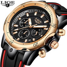 2019 New Silicone Strap Men Watches LIGE Top Brand luxury Business Luminous Quartz Watch Creative Dial Waterproof Date Clock
