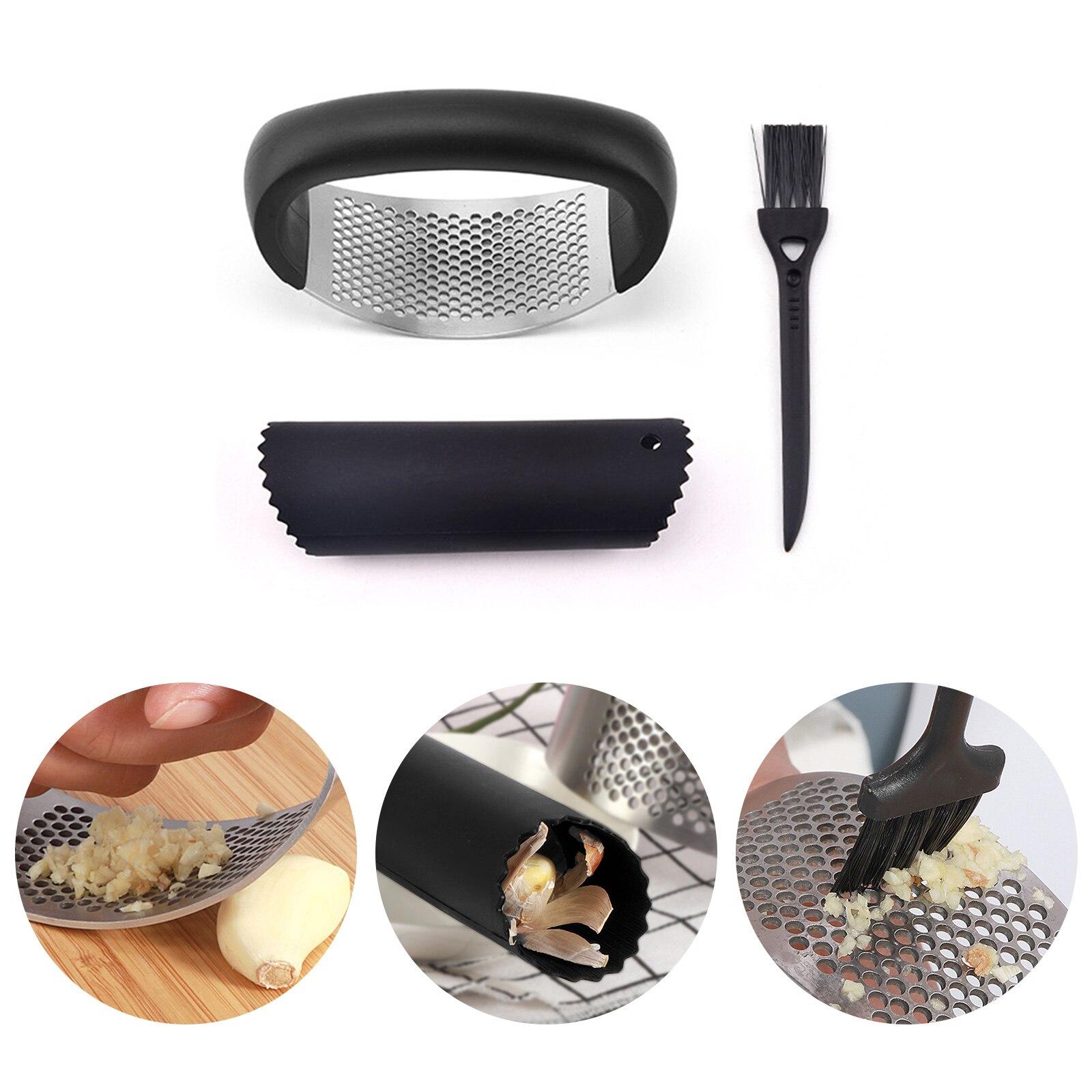 Garlic Presser Rocker Roller Set Ergonomic Handle Stainless Steel Garlic Mincer Crusher 3 Pieces Gadget Kit For Kitchen Cooking