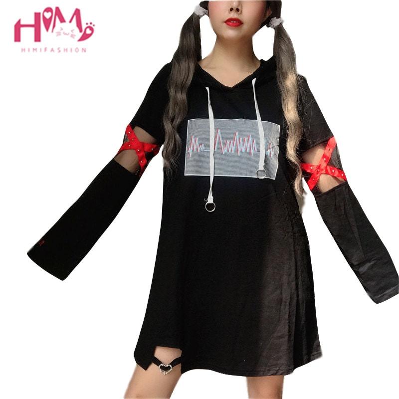2019 Korea Women Lolita Long Hoodies Japanese Harajuku Fashion ECG Graphic Female White Sweatshirt With Heart Kawaii Gothic Tops