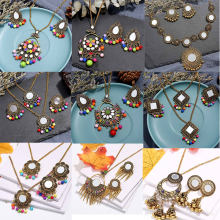 Free Shipping New Women Vintage Retro Silver-color African Colorful Stones Wedding Jewelry Necklace Earrings Sets Best Gift(China)