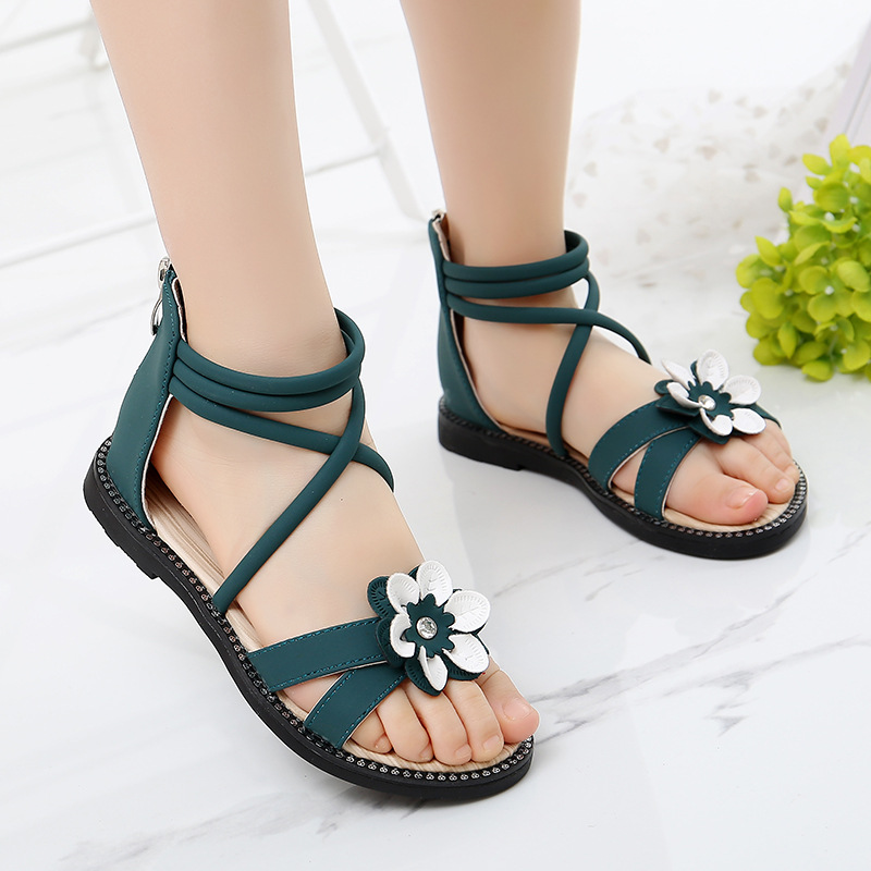 Cute Flower Roman Shoes Girl Sandals Summer Shoes Pink Green Pearl Beading Open-toe Kids Girls Beach Sandals Kids Shoes B657