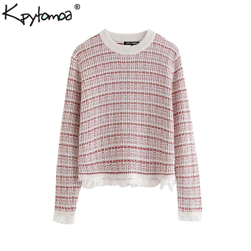 Vintage Sweet Plaid Tassel Knitted Sweater Women 2019 Fashion O Neck Long Sleeve Stretchy Pullovers Chic Tops Pull Femme