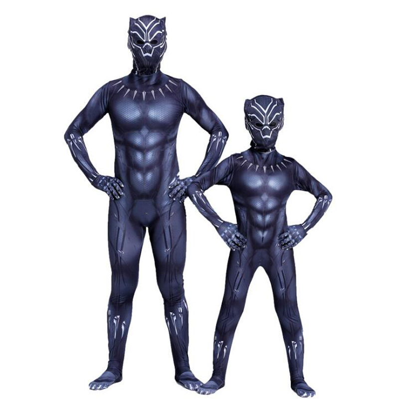Black Panther Costumes Kids Men Halloween Costume Captain America Civil War Movie Marvel Black Panther Cosplay SuperHero Suit