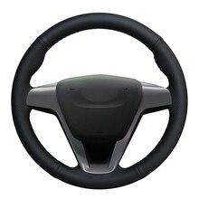 자동차 핸들 커버 Lada Vesta 2015 2016 2017 2018 2019 Xray 2015 2019 용 손으로 꿰매어 진 미끄럼 방지 검은 인조 가죽