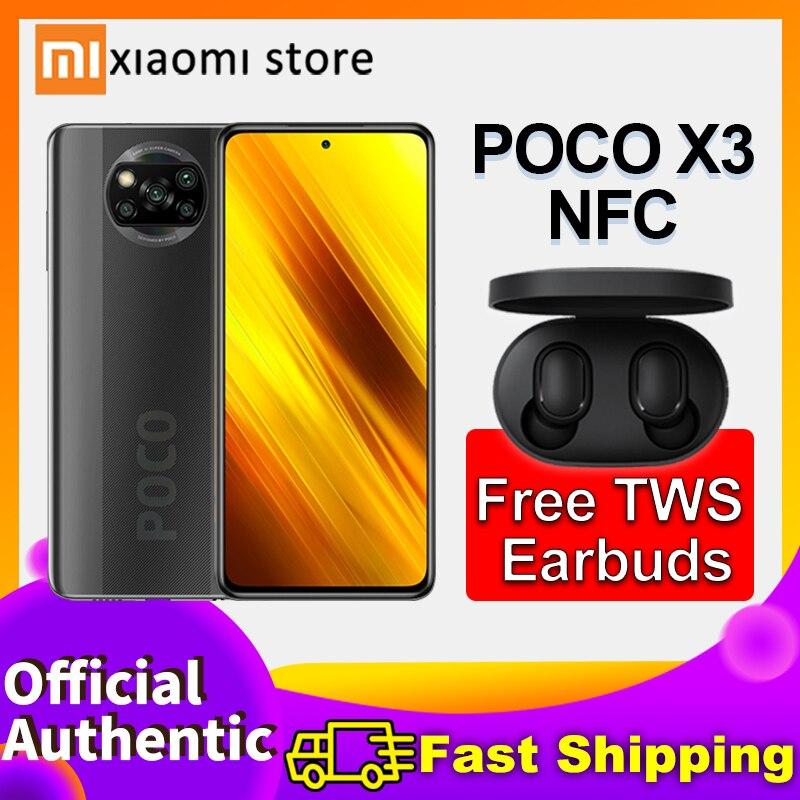"""Смартфон Xiaomi POCO X3 NFC телефонов глобальная версия 6 ГБ 64 Гб/128 ГБ Snapdragon 732G 64 мегапиксельная четырехъядерная камера 6,67 """"DotDisplay 5160 мА ч Смартфоны      АлиЭкспресс"""