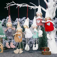 1pc New Cute Christmas Pendants Angel Girl Doll Santa Claus Pendants Christmas Tree Decor for Home Xmas Ornaments Gifts for Kids