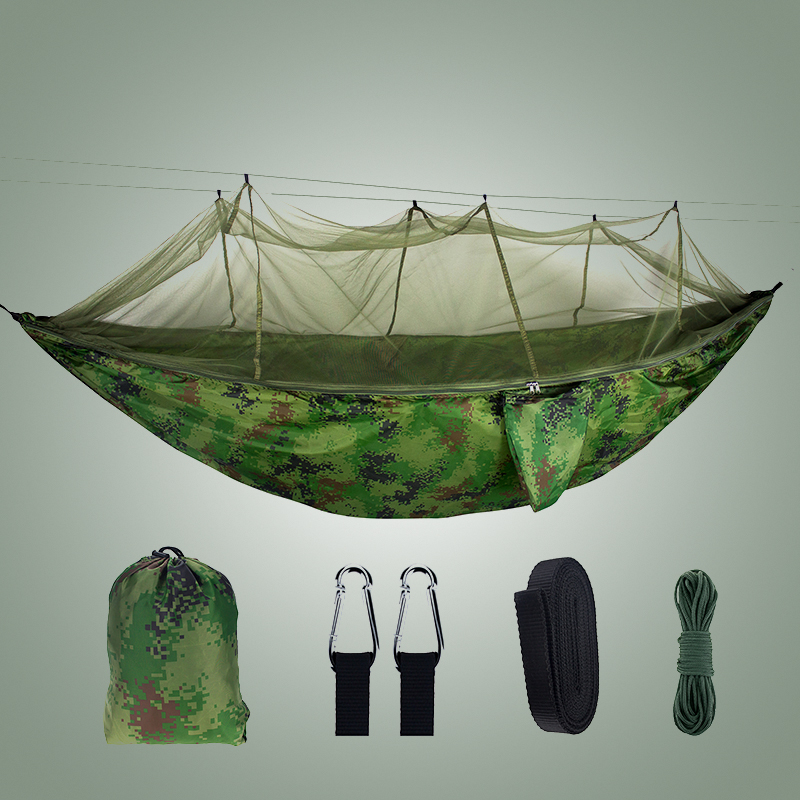 Hammock With Mosquito Net Camouflage Camping Sleeping Garden Outdoor Adults Parachute Fabric Portable Travel Swing Hammock Tent
