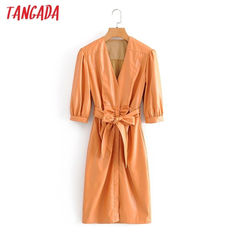 Tangada women orange faux leather pleated dress with belt three quarter sleeve retro 2020 autumn elegant female midi dress QN4