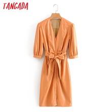 Tangada – robe plissée en faux cuir orange pour femme, avec ceinture, manches trois quarts, rétro, élégante, mi-longue, automne 2020, QN4
