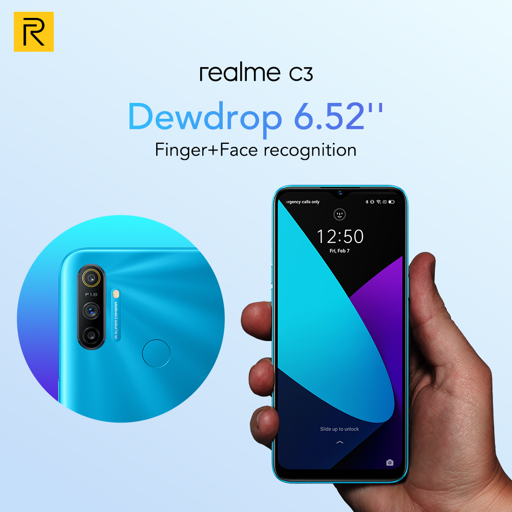 realme C3 Global Version 3GB 64GB Mobile Phone Helio G70 12MP AI Camera 6.5\