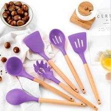 Spatula-Brush Cooking-Tool Soup-Spoon Kitchen-Set Wooden-Handle Silicone 11pcs/Set Egg-Beater